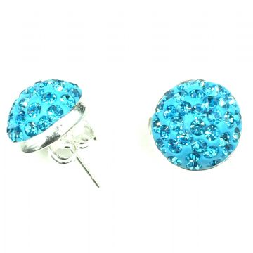 10mm Pave crystal stud earrings - turquoise - silver